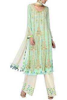 Mint Green Embroidered Layered Kurta Set by Bodhitree Jaipur