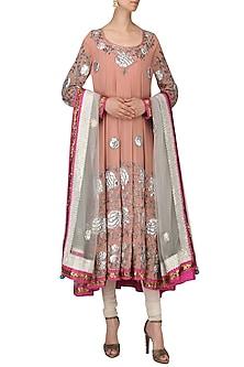 Flamingo Pink Embroidered Anarkali Set by Bodhitree Jaipur