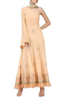 Peach One Shoulder Maxi Dress by Bodhitree Jaipur