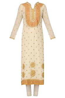 Off White Embroidered Kurta Set by Bodhitree Jaipur