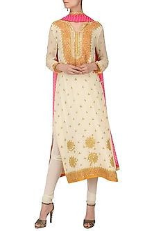 Off White Embroidered Kurta Set by Bodhitree Jaipur