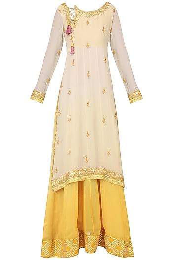 Off White and Yellow Embroidered Layered Kurta Set by Bodhitree Jaipur
