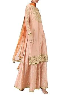 Salmon Pink Embroidered Kurta and Sharara Pants Set by Bodhitree Jaipur
