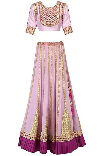 Lavender Gota Patti Work Lehenga Set by Bodhitree Jaipur