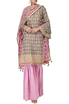 Grey Block Print Embroidered Kurta with Lavender Gharara Pants Set by Bodhitree Jaipur