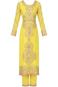 Yellow and Tangerine Embroidered Kurta Set by Bodhitree Jaipur