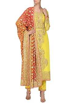 Yellow and Tangerine Embroidered Kurta Set by Bodhitree Jaipur