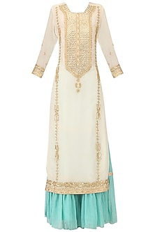 Off White Embroidered Kurta with Turquoise Gharara Pants Set by Bodhitree Jaipur