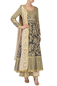 Grey Embroidered Anarkali with Beige Sharara Pants Set by Bodhitree Jaipur