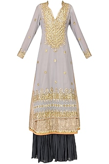 Powder Blue Embroidered Kurta with Navy Blue Sharara Pants Set by Bodhitree Jaipur