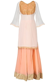 White Embroidered Kurta with Peach Lehenga Set by Bodhitree Jaipur
