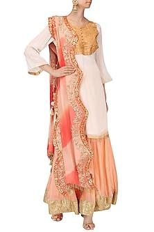 White Embroidered Kurta with Peach Lehenga Set by Bodhitree Jaipur