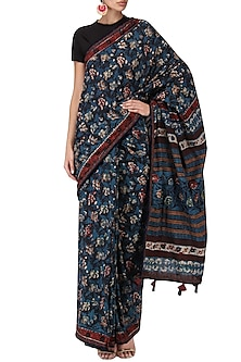 Indigo Block Printed Saree by Bodhitree Jaipur