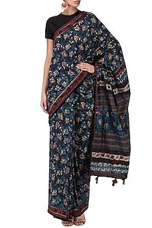 Indigo Block Printed Saree by Bodhitree Jaipur