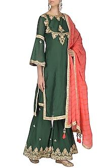 Emerald Green Embroidered Sharara Pants Set by Bodhitree Jaipur