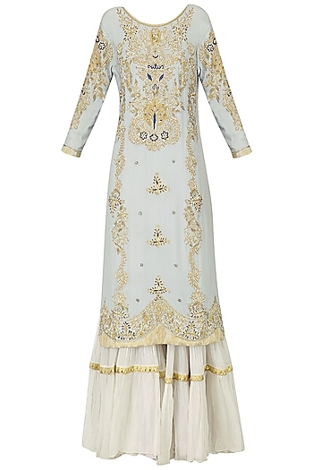 Powder Blue Embroidered Kurta with Tiered Sharara Pants Set by Bodhitree Jaipur