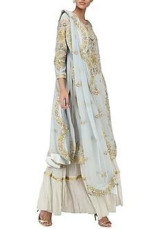 Powder Blue Embroidered Kurta with Tiered Sharara Pants Set by Bodhitree Jaipur
