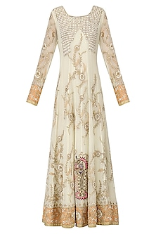 Off White and Peach Embroidered Anarkali Gown by Bodhitree Jaipur