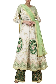 Daisy White Embroidered Anarkali with Emerald Grren Palazzo Pants by Bodhitree Jaipur