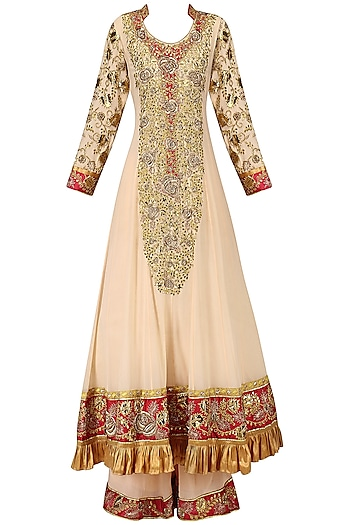 Peach Embroidered Sharara Pants Set by Bodhitree Jaipur