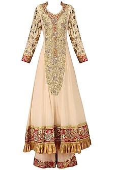 Peach Embroidered Sharara Pants Set by Bodhitree Jaipur