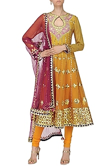 Canary Yellow Embroidered Anarkali Set by Bodhitree Jaipur