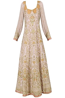 Pastel Lavender Embroidered Anarkali Gown by Bodhitree Jaipur