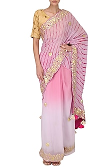 Lavender Ombre Embroidered Saree by Bodhitree Jaipur
