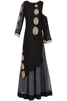 Black and Grey Embroidered Asymmetrical Anarkali Set by Bodhitree Jaipur