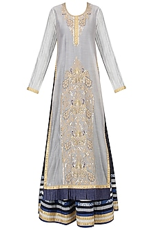 Off White and Navy Blue Embroidered Kurta Set by Bodhitree Jaipur