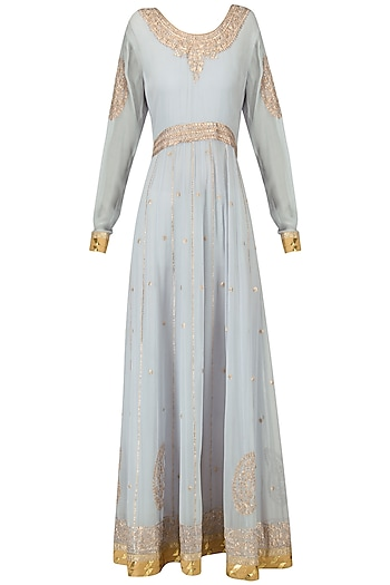 Powder Blue and Peach Embroidered Anarkali Gown by Bodhitree Jaipur