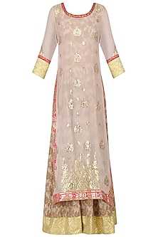 Powder Pink and Beige Embroidered Kurta Set by Bodhitree Jaipur