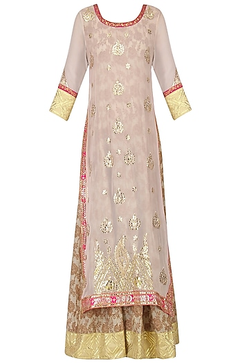 Powder Pink and Beige Embroidered Kurta Set by Bodhitree Jaipur