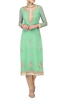 Turquoise and Beige Embroidered Kurta Set by Bodhitree Jaipur
