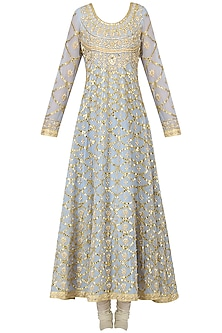 Powder Blue Embroidered Anarkali Set by Bodhitree Jaipur