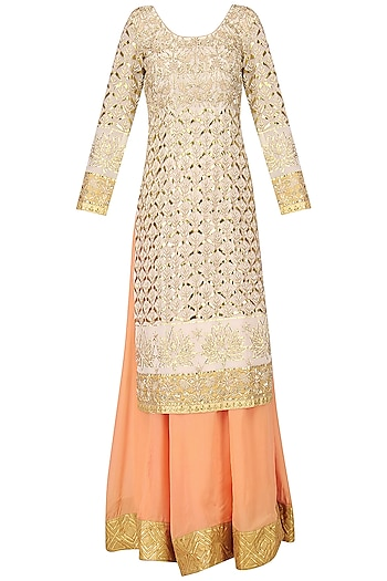 Beige and Peach Embroidered Sharara Pants Set by Bodhitree Jaipur