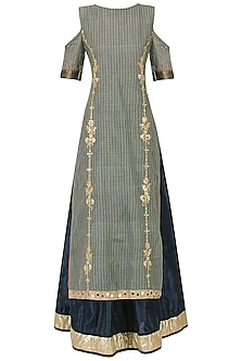 Grey and Navy Blue Embroidered Cold Shoulder Kurta by Bodhitree Jaipur