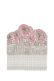 Silver Embroidered Sallie Clutch by Be Chic