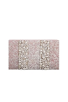 Ivory & Pink Crystal Embroidered Clutch by Be Chic