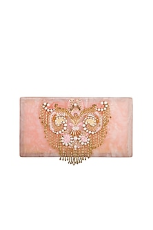 Ivory & Pink Hand Embroidered Clutch by Be Chic