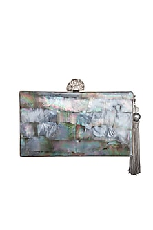 Silver Tassel Embellished Clutch by Be Chic