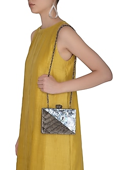 Nickel Intricate Wire Handcrafted Clutch by Be Chic