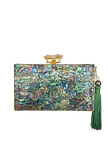 Gold Mother Of Pearl Handcrafted Clutch by Be Chic