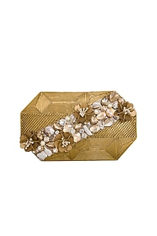 Dull Gold Handcrafted Clutch by Be Chic