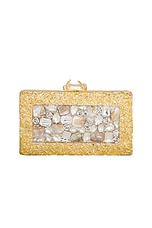 Gold Handcrafted Mother Of Pearl & Crystal Clutch by Be Chic