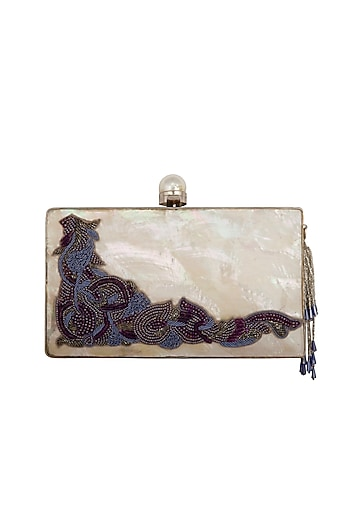 Silver Handcrafted Mother Of Pearl Embroidered Clutch by Be Chic