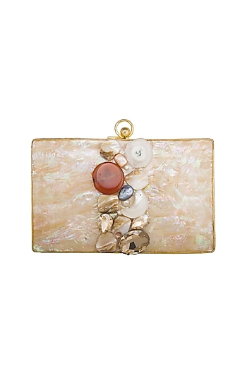 Gold Handcrafted Mother Of Pearl Clutch by Be Chic