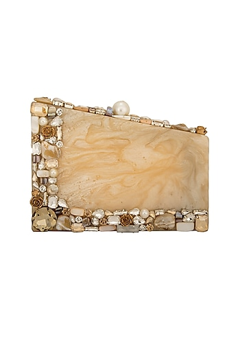 Caramel Crystals & Pearl Clutch by Be Chic