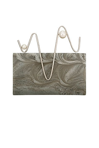Ash Grey Pearl Clutch by Be Chic