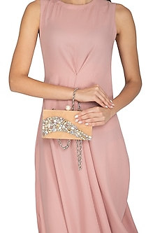 Peach Crystals & Pearl Clutch by Be Chic